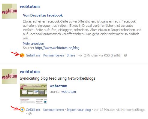 Anwendungsicons der RSS-Feedaggregatoren in facebook