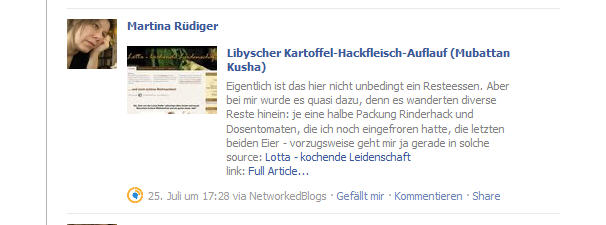 Automatischer Facebookeintrag eines Wordpress-Postings