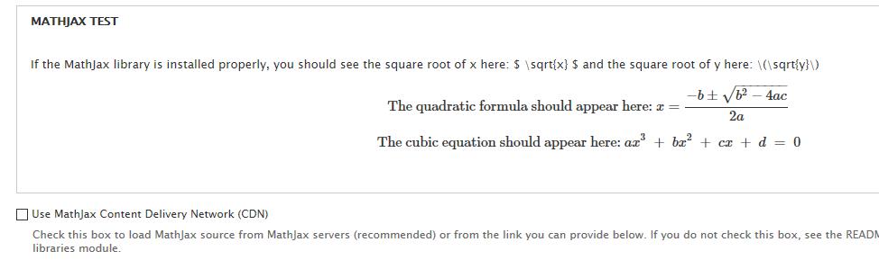 MathJax-Test zeigt: es wurde erfolgreich installiert