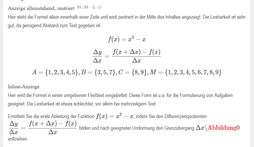Gerenderte Website mit LaTex-Formel und MathJax