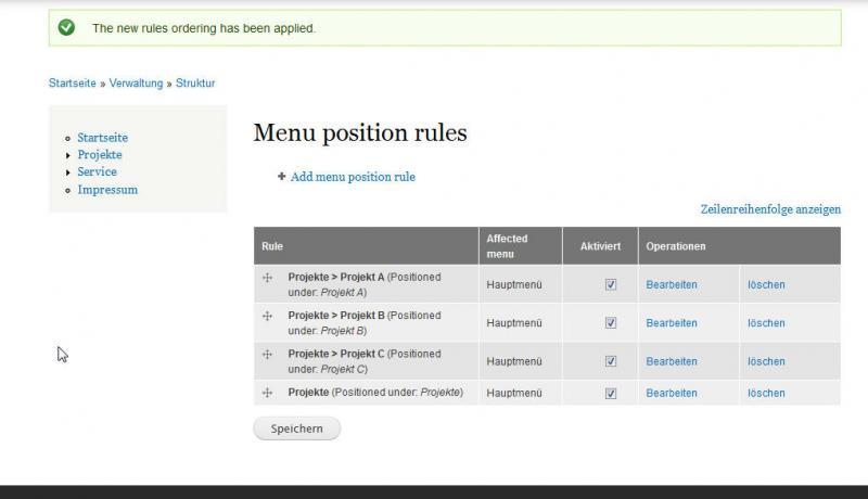 Drupal7 korrekte Sortierung der Menu position rules