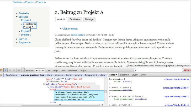 Drupal7 Anzeige der CSS-Klasse von Menu Position in Firebug