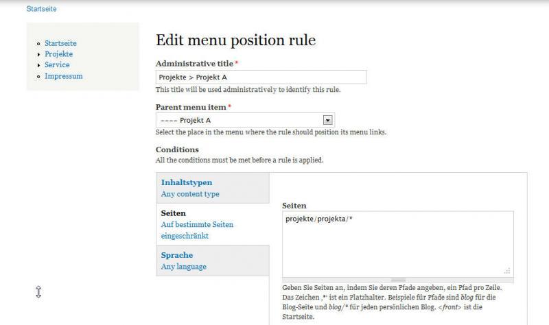 Drupal7 Menu postion rule erstellen