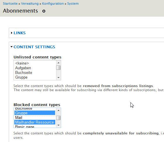 Drupal Subscription-Modul: Inhaltstypen ausschließen