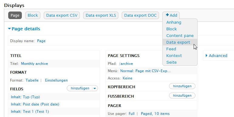 Drupal7 Modul Views Data Export: add-type