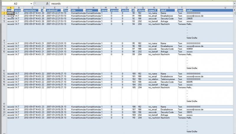 Screenshot exportierte Datensätze aus Joomla Facile Forms
