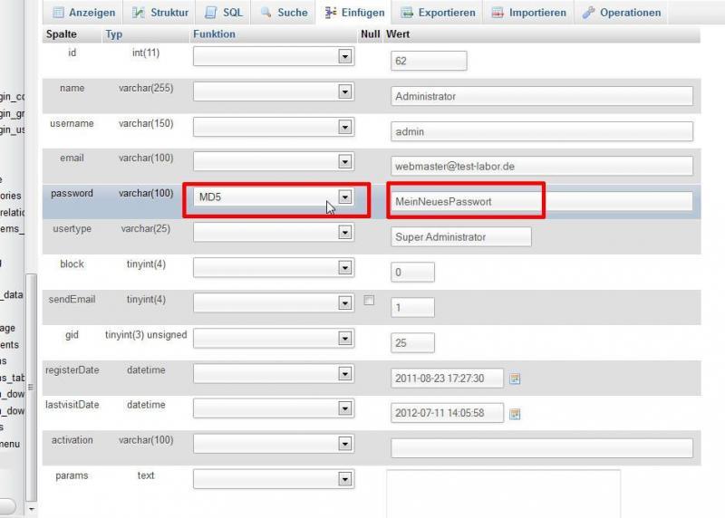 Administrator-Passwort in Joomla-Datenbank ändern