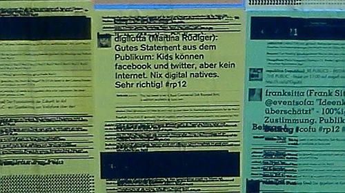 Foto: Twitterkommentare zu Vorträgen - Twitterwall auf der re:publica2012
