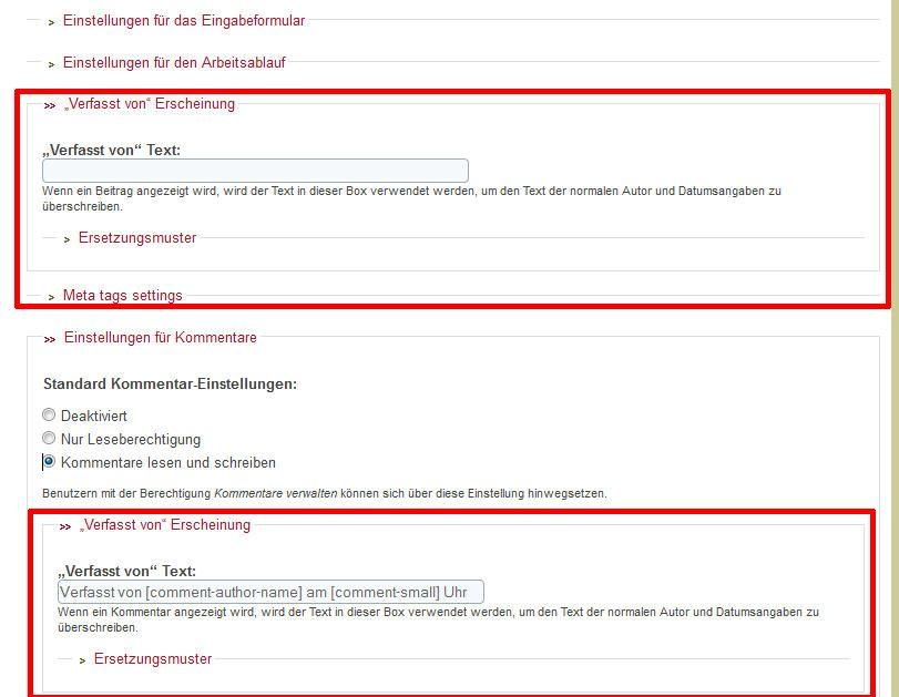 Konfiguration von Node und Kommentar für Inhaltstyp