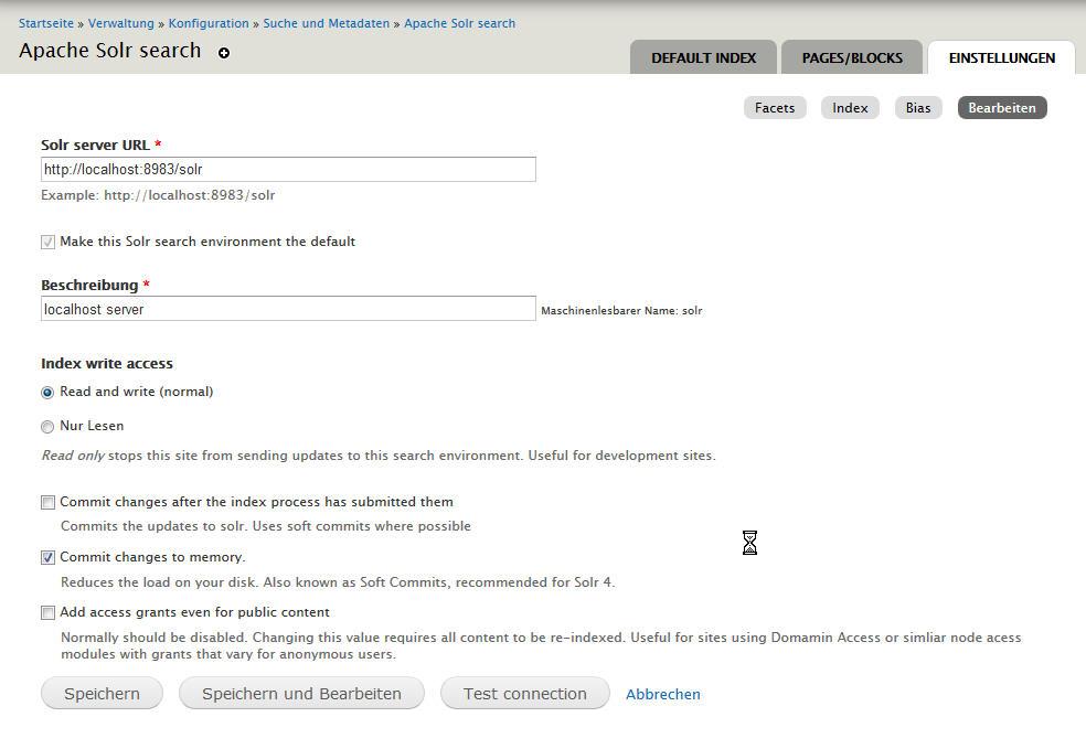Einstellungen des Apache Solr search Moduls von Drupal 7