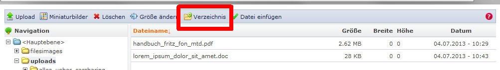 Button zum Erstellen/Löschen von Verzeichnissen in IMCE