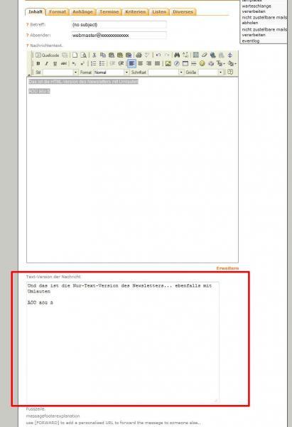 PHPlist Newsletter erstellen mit getrennten Eingabefeldern für HTML- und Nur-Text-Version