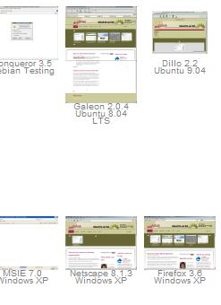 Screenshot der Vorschaubilder für diverse Browser