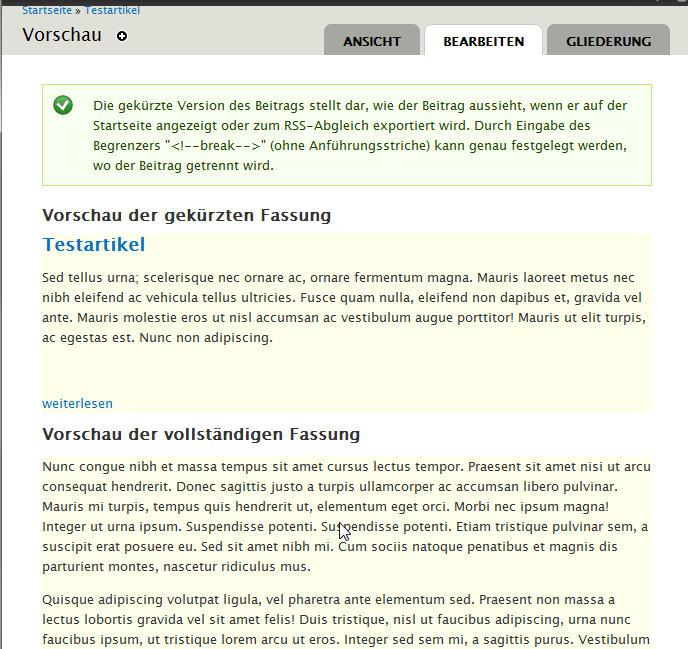 Drupal7: Artikelvorschau mit Anrisstext und vollständiger Fassung