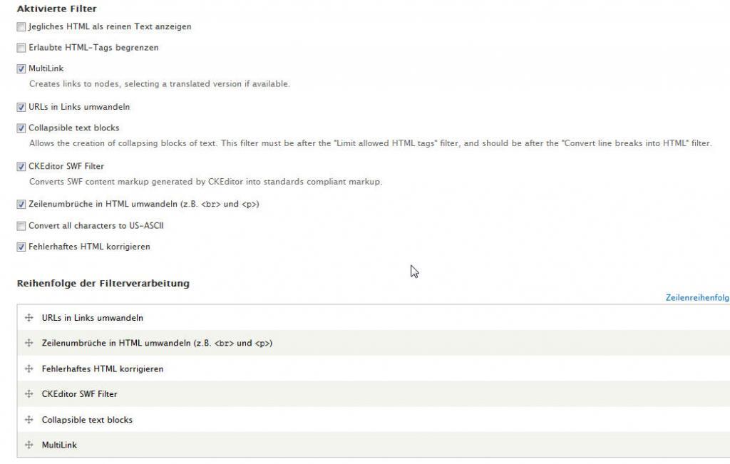"""Einstellungen für den Multilink-Filter im Eingabeformat """"Full HTML"""""""