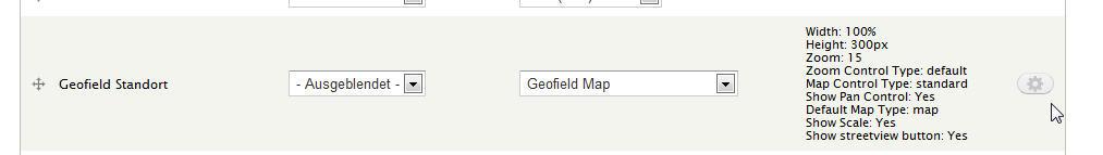 Auf Kartenansicht eingestelltes Geofield-Feld