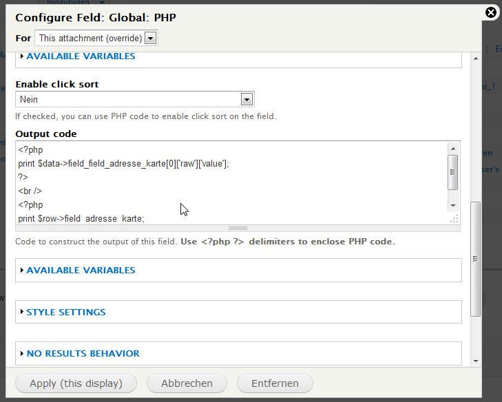 Ausgabe des Feldwertes und der Node-ID mit Views PHP
