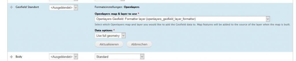 openlayers geofield display einstellen