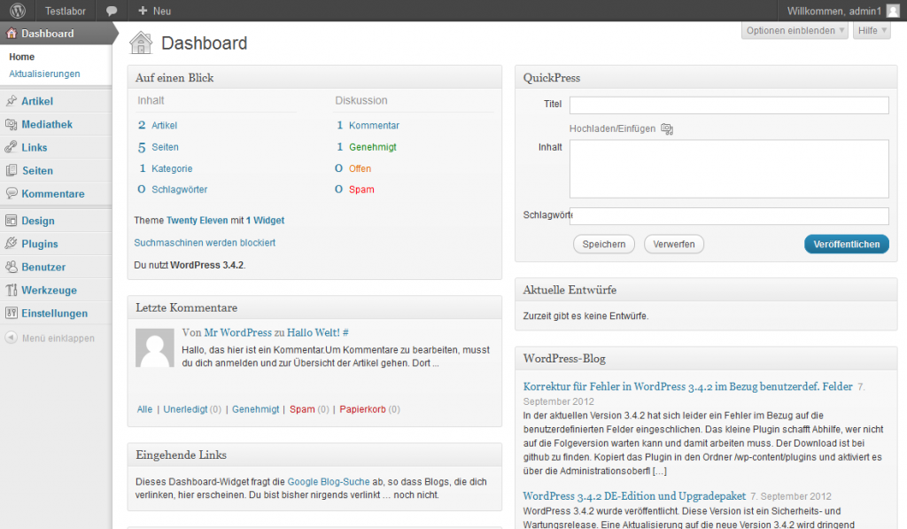 Wordpress Dashboard für Administratoren