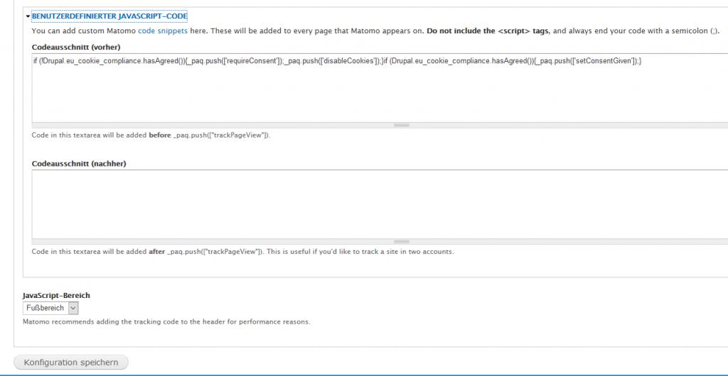 Benutzerdefinierte Einstellungen für Matomo Tracking Opt-In