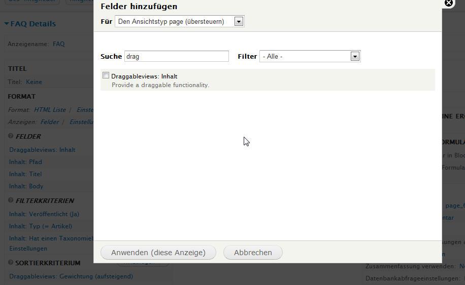 """Neues Feld """"Draggableviews: Inhalt"""" in Views"""