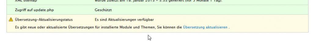 Drupal Statusbericht mit Hinweis auf neue Übersetzungen
