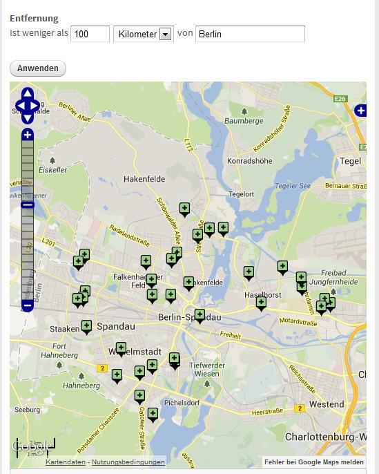 Kartenansicht mit Umgebungssuche mit OpenLayers