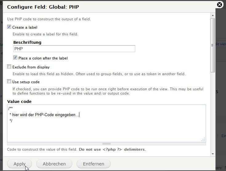 PHP-Code in Drupal-View einbinden